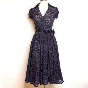 Zara Woman Navy Eyelet Wrap Dress - M